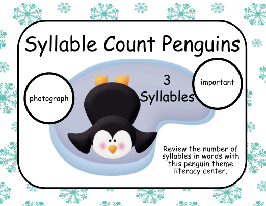 Syllable Count Penguins - Literacy Center This penguin ...