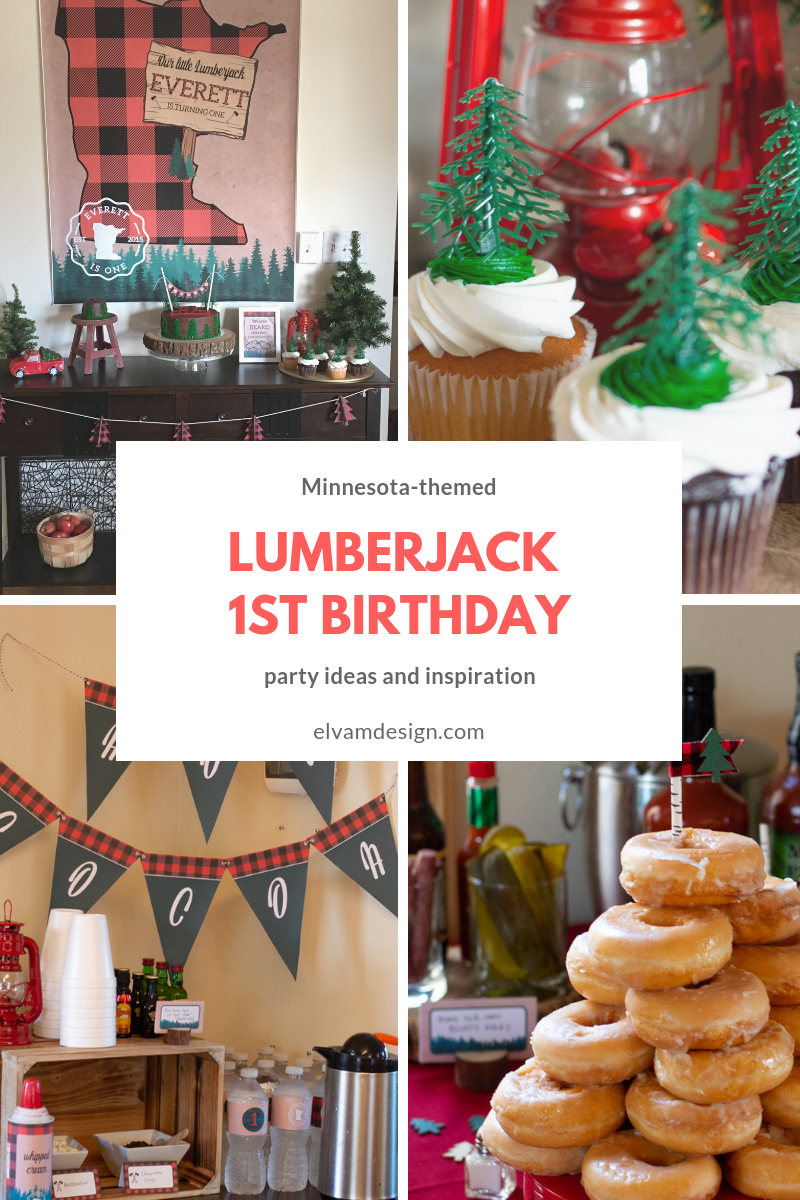 Check Out This Minnesota Themed Lumberjack 1st Birthday Party From Elva M Design Studios