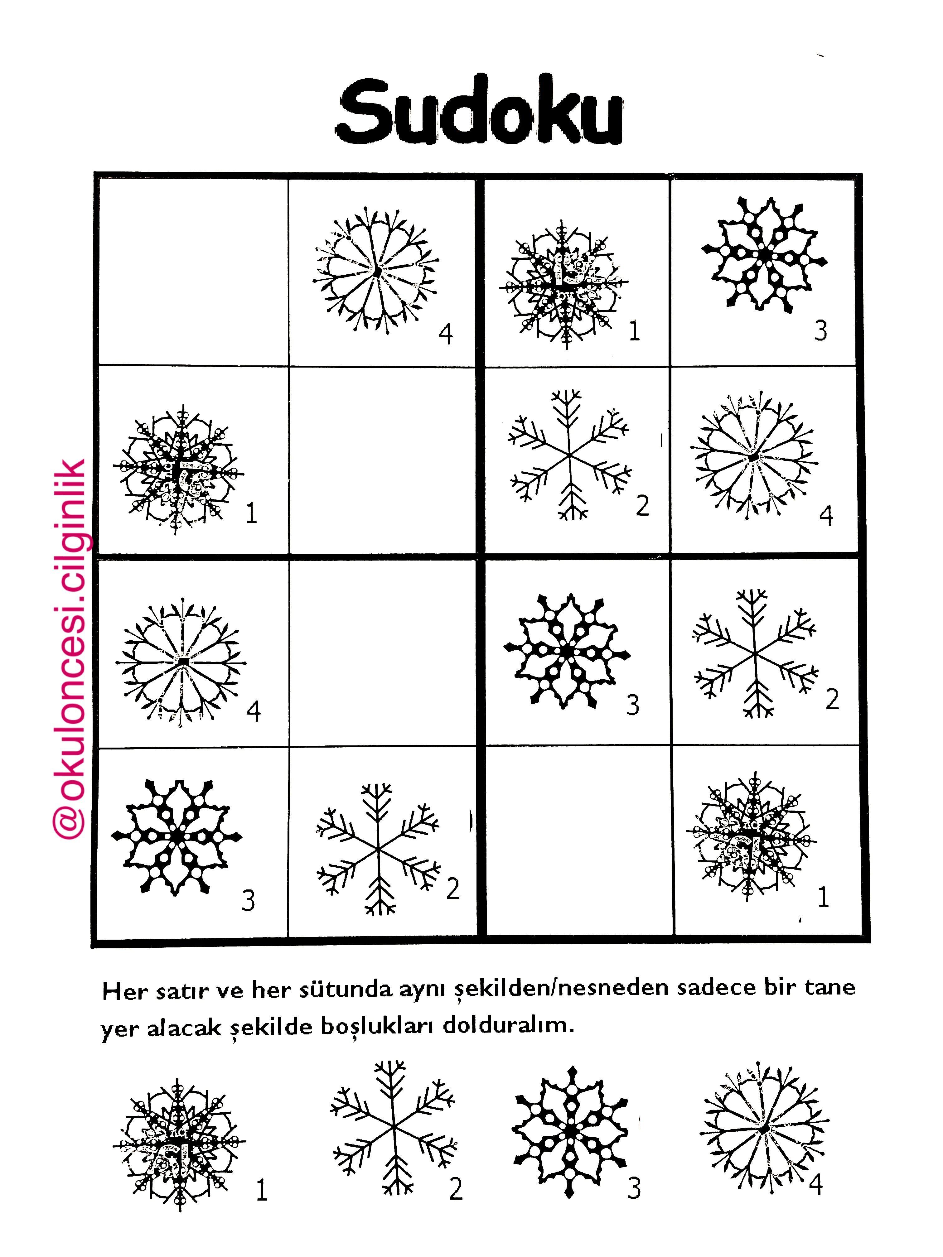 Ellerimle Hazirladigim Kar Taneleri Kis Sudoku Bulmacamiz Basakogretmen Okuloncesicilginlik Temel Matematik Boyama Sayfalari Faaliyetler