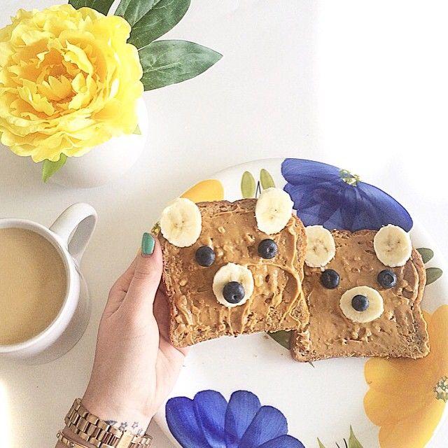 Peanut butter bear toast & morning coffee.