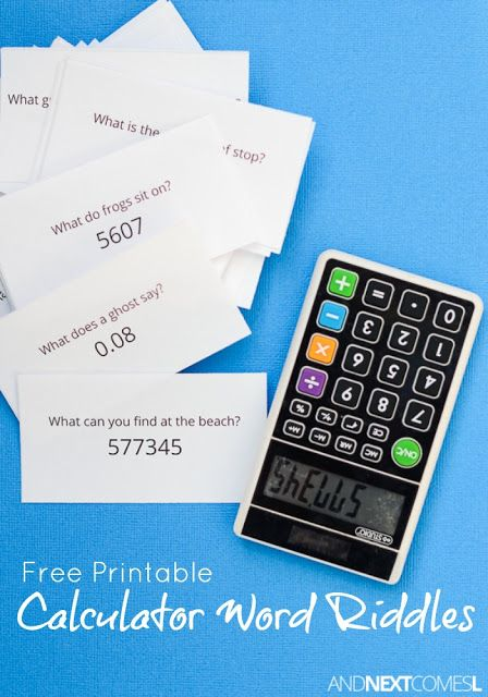 Free Printable Calculator Word Riddles for Kids | Calculator words ...