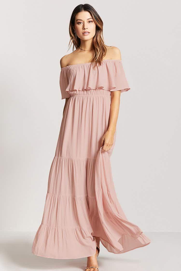 Vestido Largo Hombros Descubiertos | outfits de primavera verano ...
