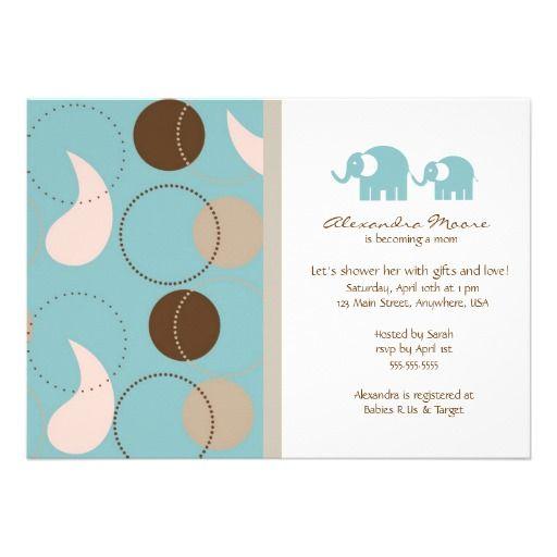Paisley- u. Elefant-Babyparty-Einladung Karte | Babyshower