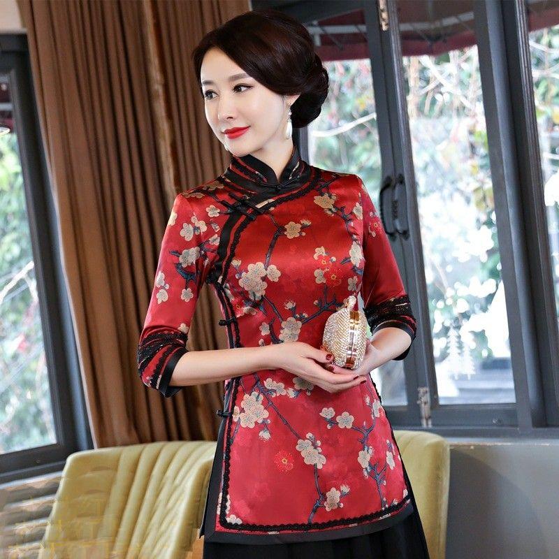 a329576e0e4d0 New Summer Womens Shirt Tops Traditional Chinese Lady Silk Blouse Mandarin  Collar Qipao Mujer Camisa Size S M L XL XXL XXXL 9962