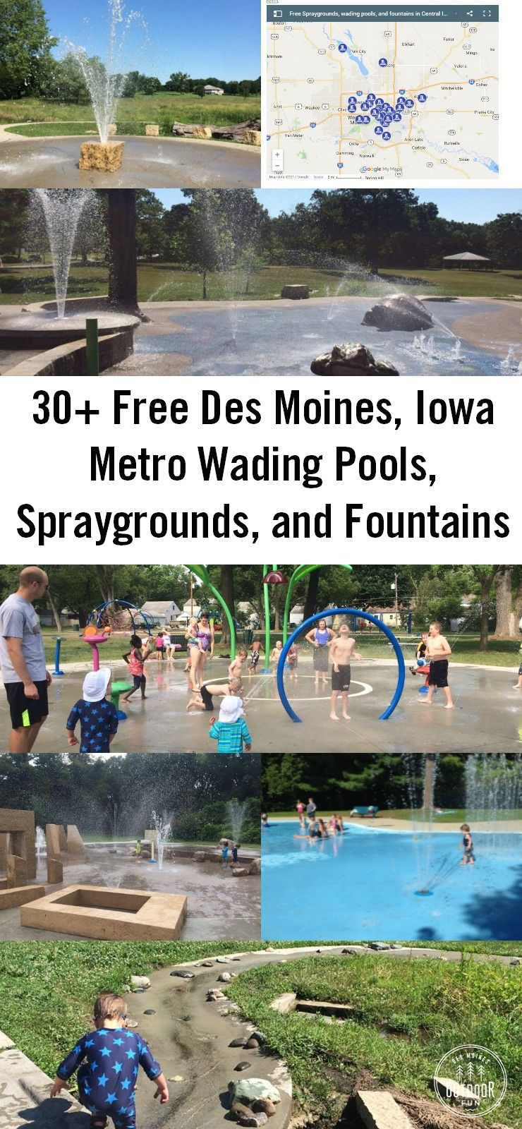 A list of over 30 free spraygrounds, wading pools, and