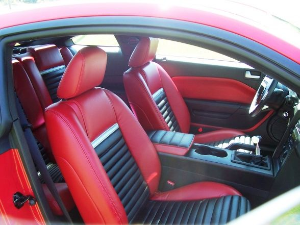 2006 Mustang Mach 1 Custom Interior Red Black Grey Custom Door Panels Auto Addiction Interiors