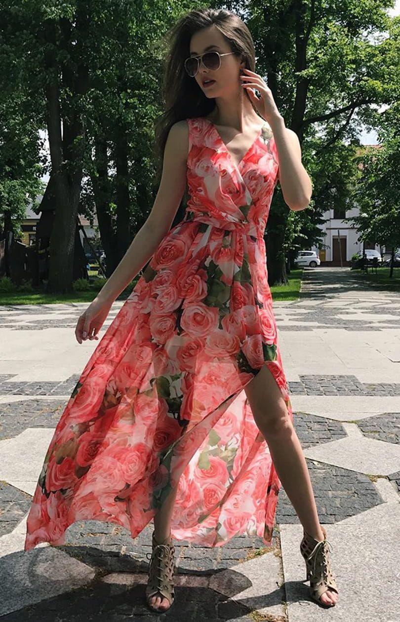 Kopertowa Sukienka Maxi W Kwiaty 209 D33 Maxi Dress Dresses Fashion