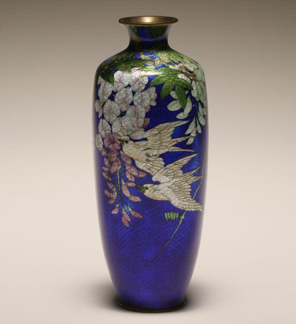 Japanese Cloisonne Japanese Ginbari Cloisonne Vase Enamel On