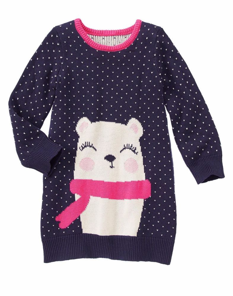 GYMBOREE Fair Isle Flurry Girls Size 5 7 Navy Pink Bear Sweater ...