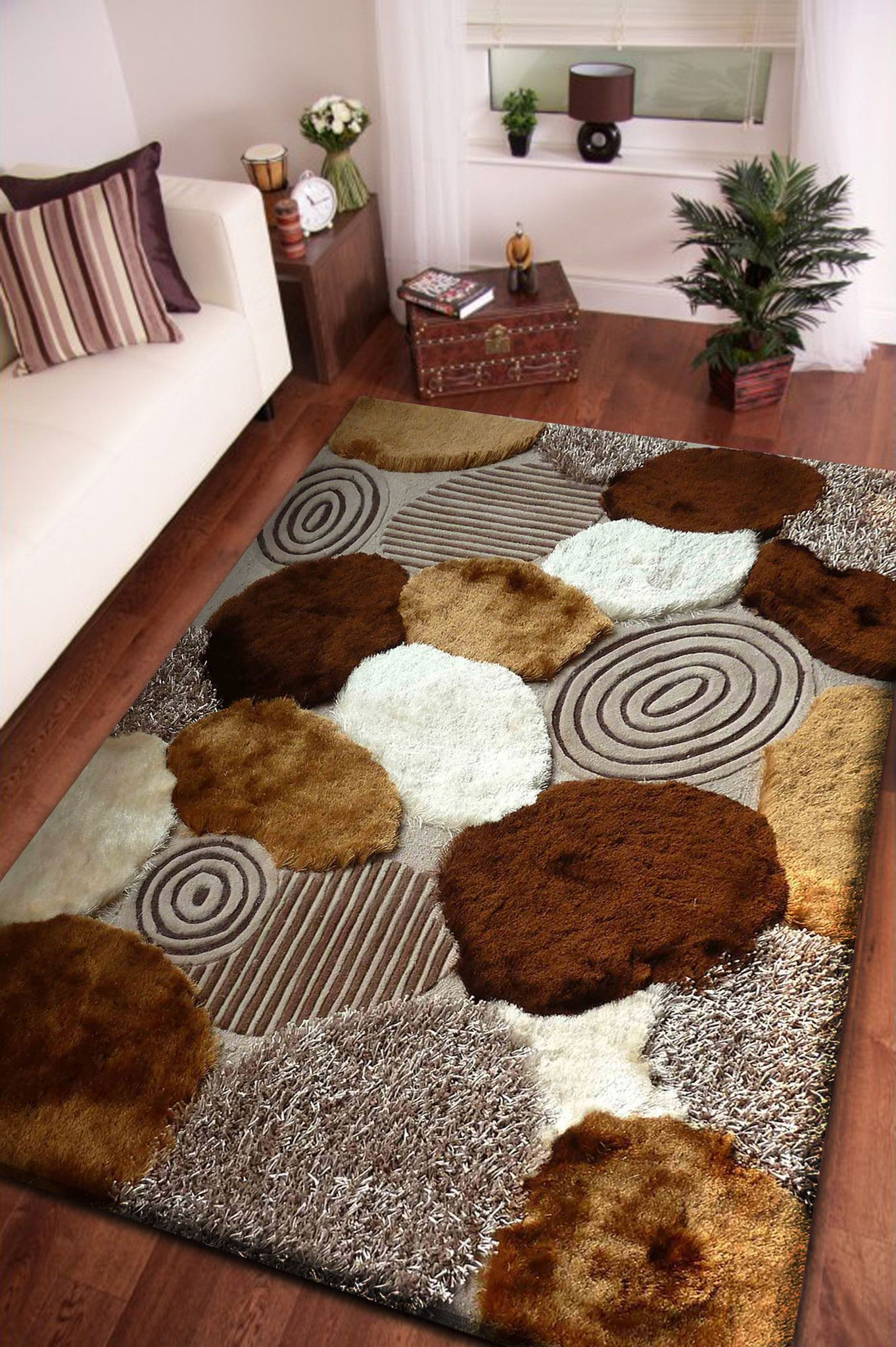 beige with brown pattern shag rug