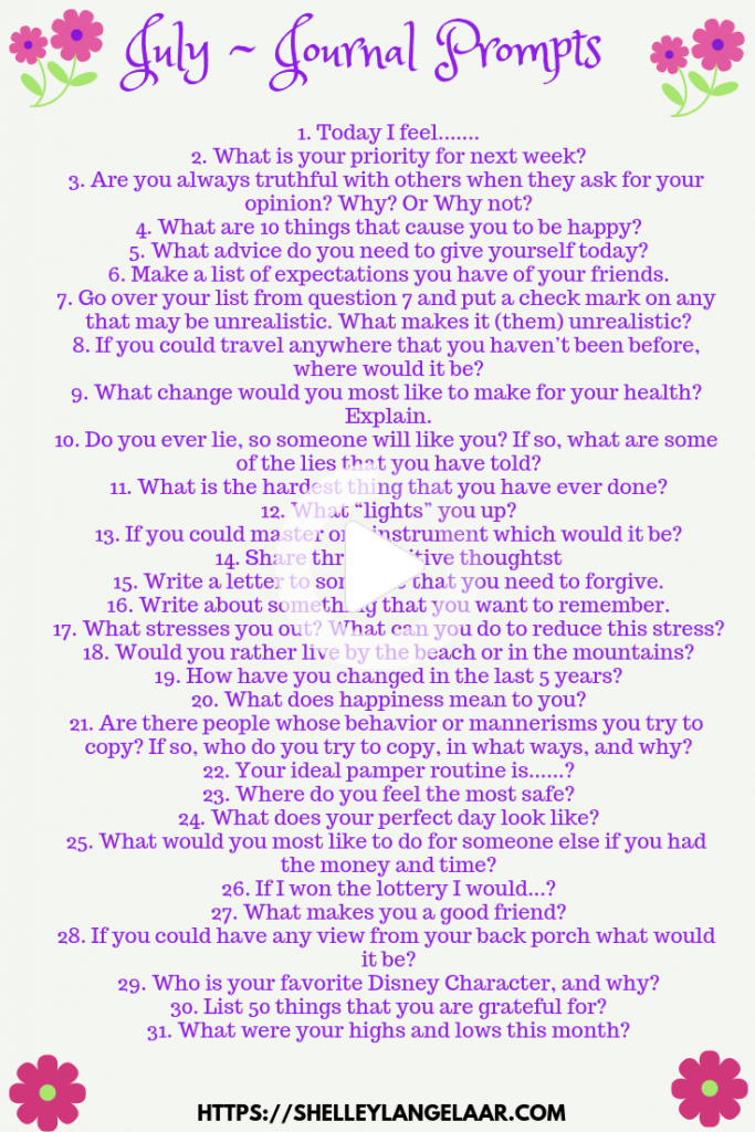 Selfdiscovery July journal prompts. These prompts help to