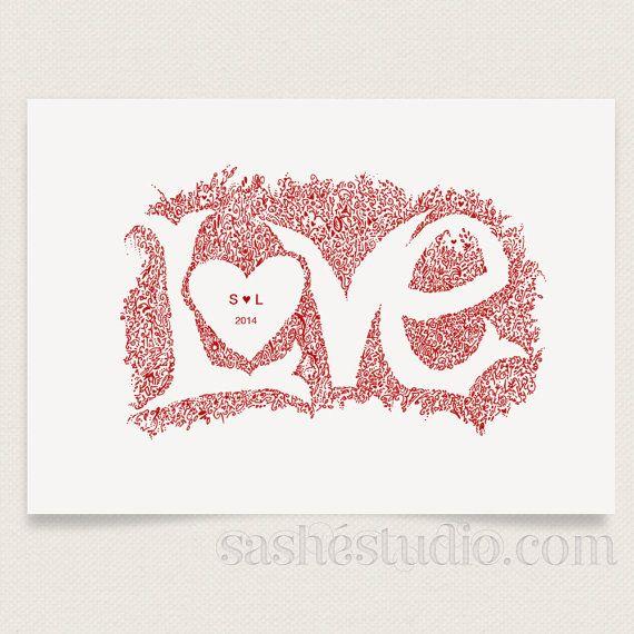 LOVE Personalised Couple Custom Anniversary by sashestudio