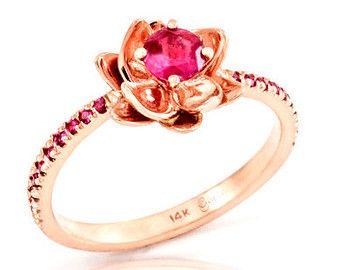 Flower Rose Gold RingEngagement Ruby Ring 14k Gem Stone Ring