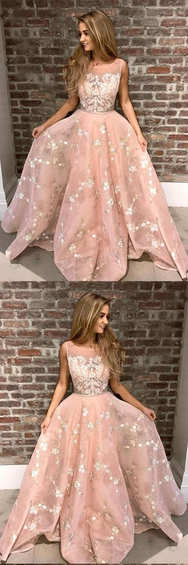 5cdc9a96583 Stylish A-Line Round Neck Pink Prom Dress with Lace Appliques Online OKA44   pink  aline  lace  appliques  long  prom  okdresses  promdresses