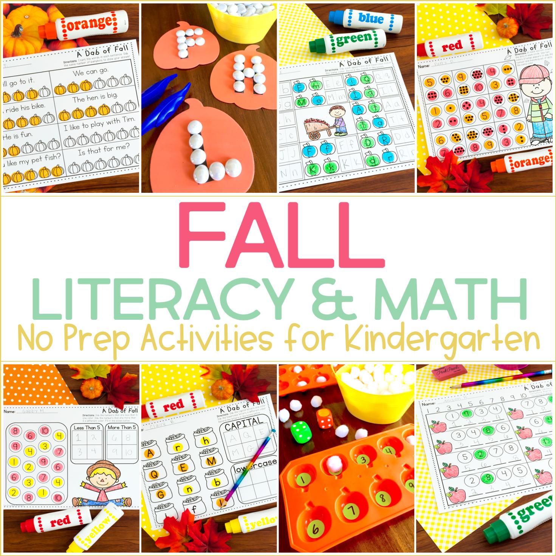 No Prep Fall Activities For Kindergarten And Games Too
