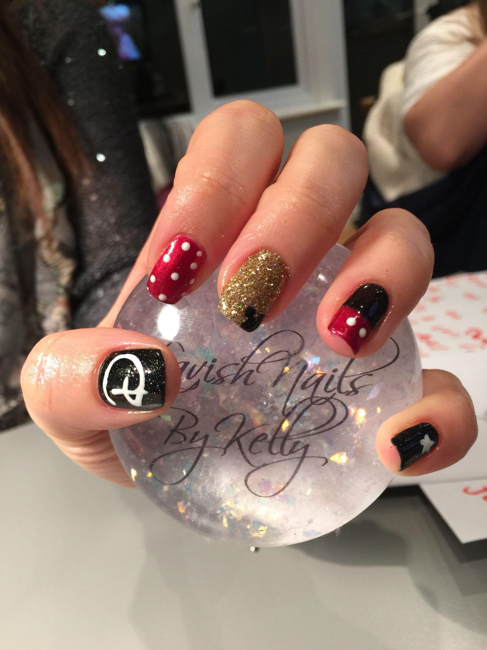 Disney nails, gel, red, sparkle, Minnie, gold, Mickey Mouse, Minnie ...