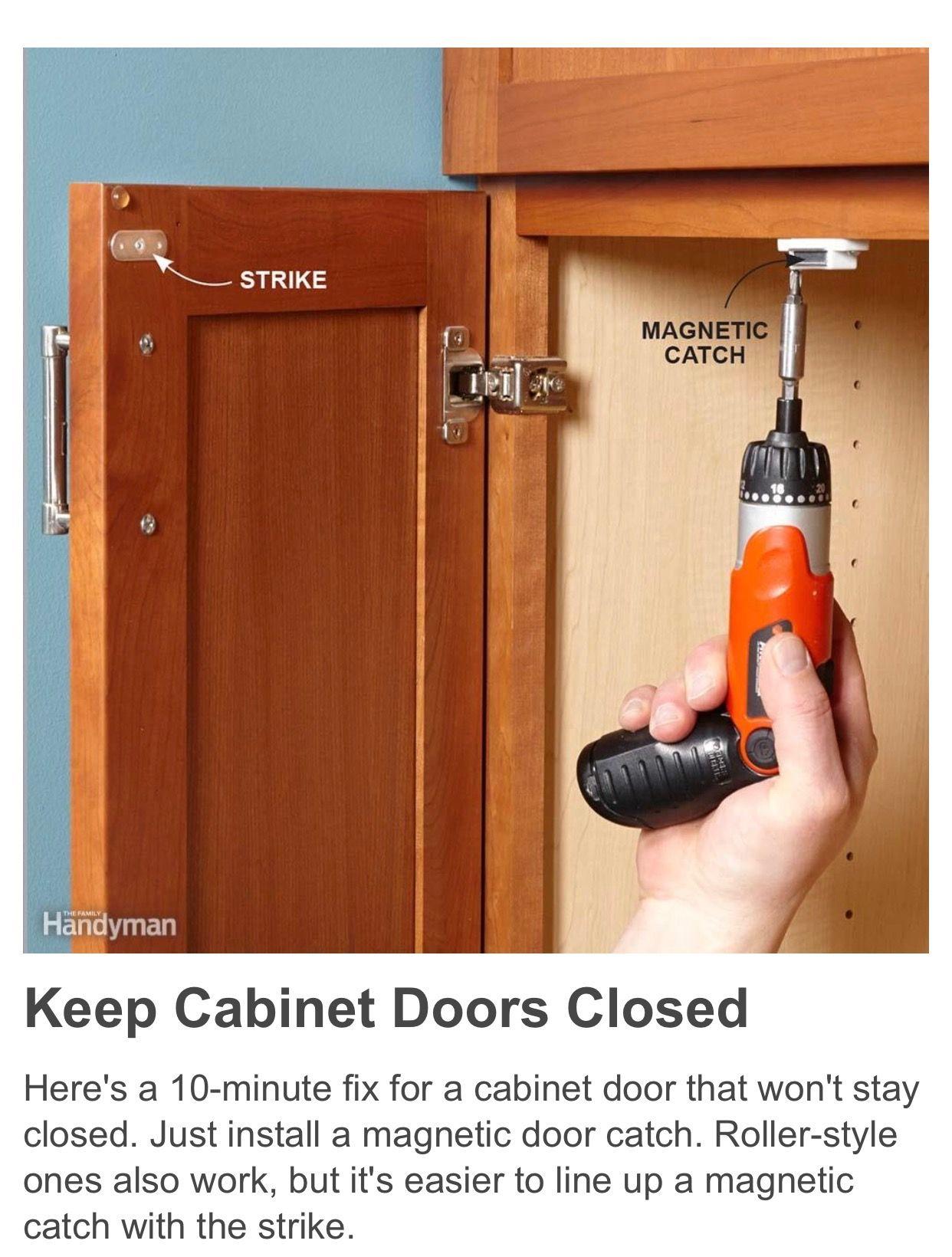 Magnetic Cabinet Door Catch Cabinet Doors Door Catches Household Hacks