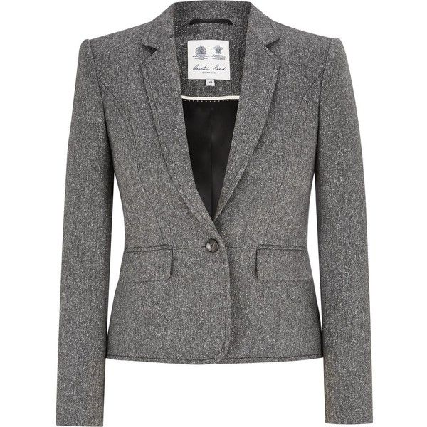 Austin Reed Black White Tweed Jacket 150 Liked On Polyvore Featuring Outerwear Jackets Black And White Jacket Black N White Blazer Black White Blazer