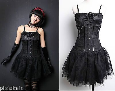 Pentagramme Bustier Style Black Gothic Dress Flocked Mesh Skirt R060034