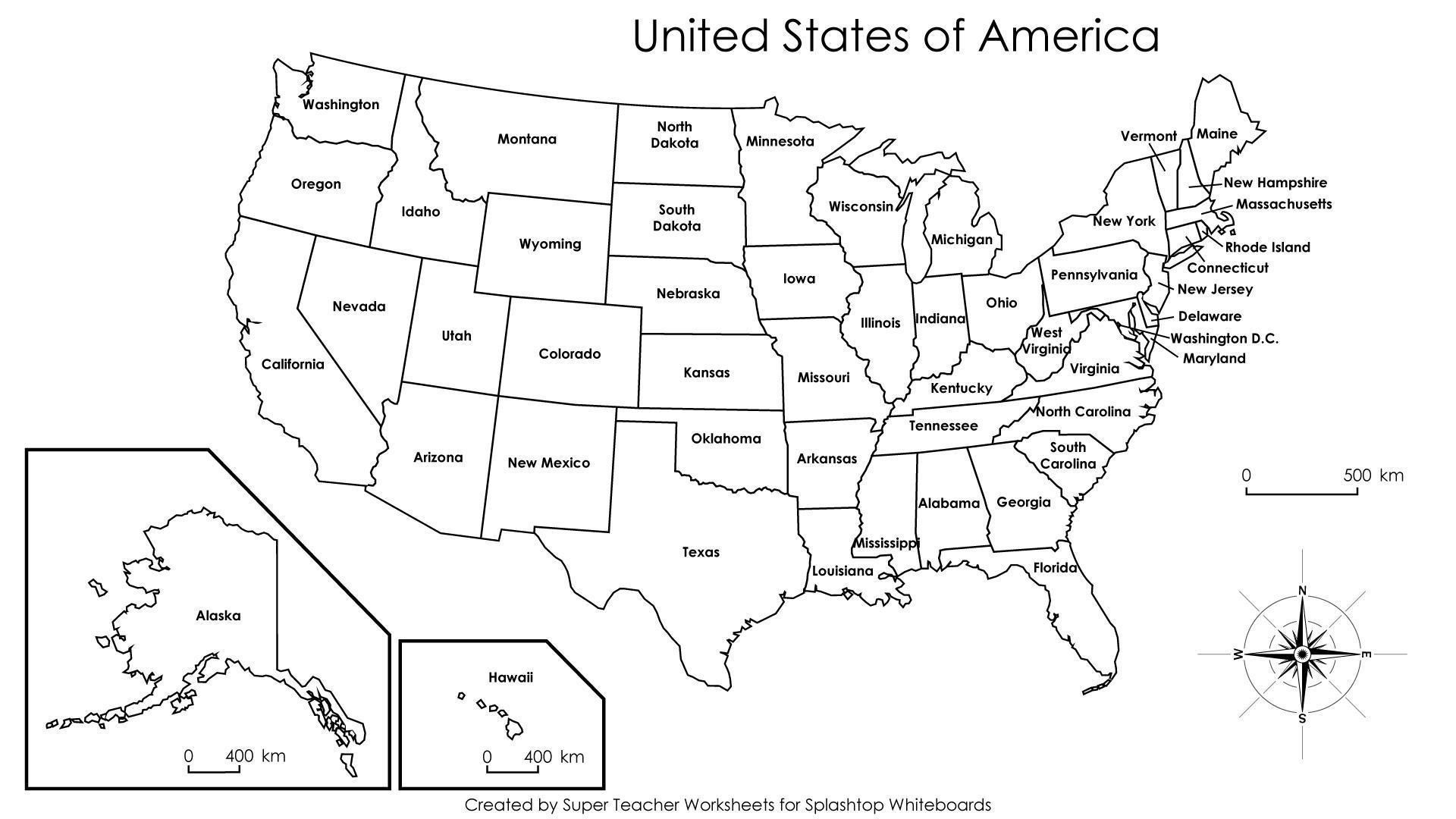 The Remarkable Us Map With States Labeled Printable New