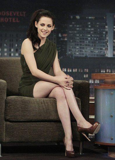 Kristen Stewart - olive green Camilla and Marc ruched one-shouldered dress.