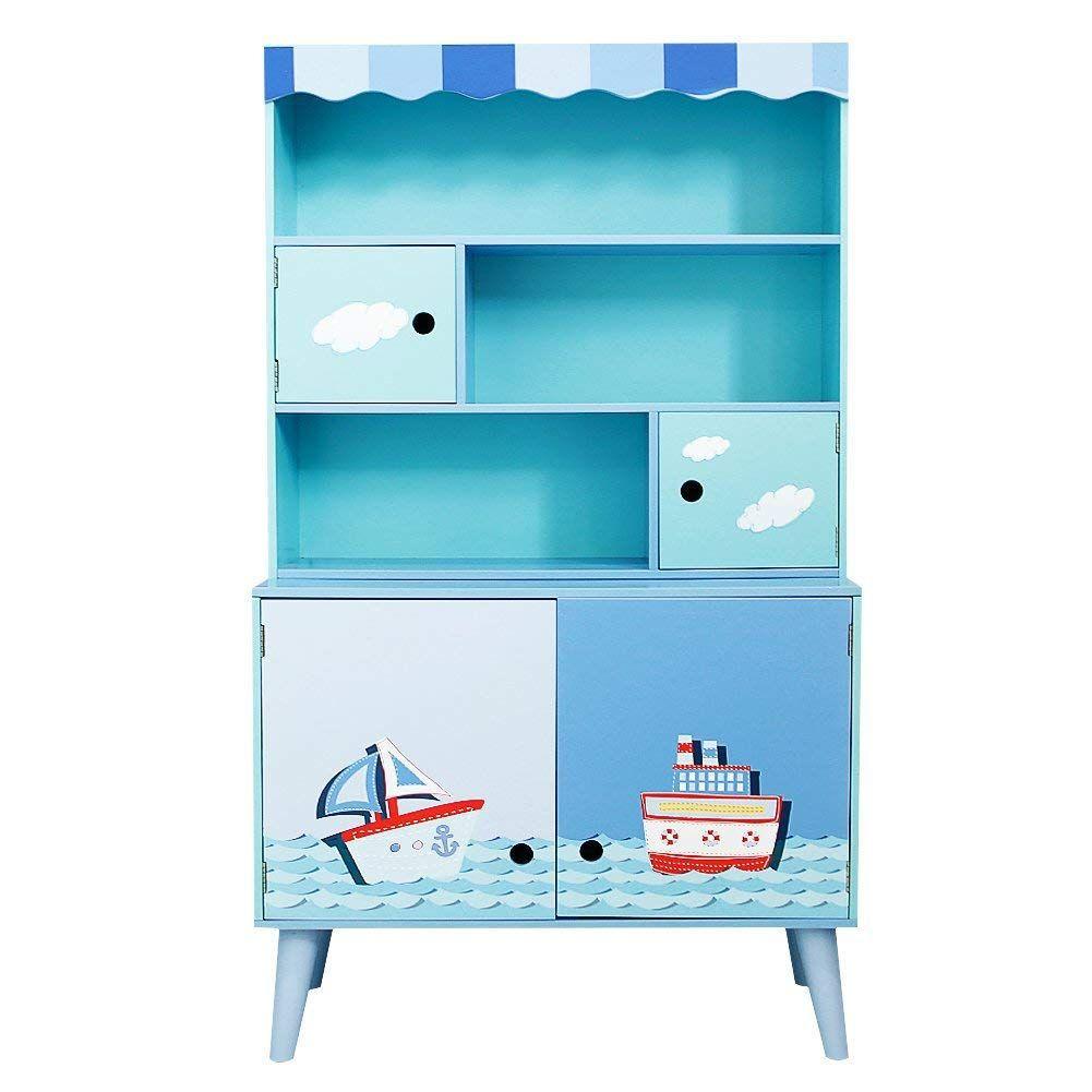 Labebe Blaue Segelboot Kommode, geräumiges Regal für Das