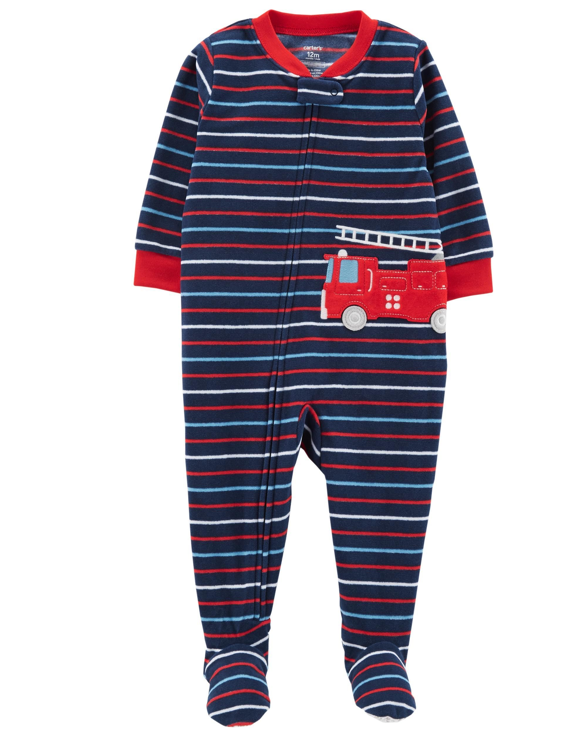 c10ac4421 Crafted in cozy fleece, this 1-piece gets him ready for bed with one easy  zip! Carter's polyester is flame resistant without any chemical treatment.