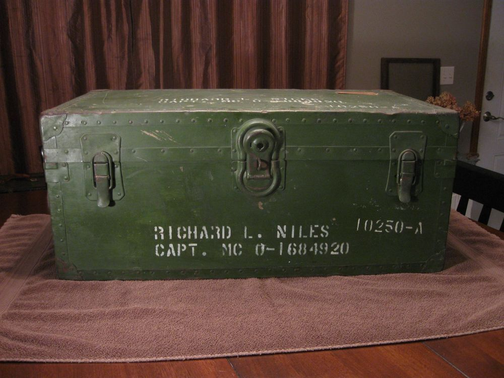 Vintage Military Foot Locker Trunk Army Navy Marines Wwii