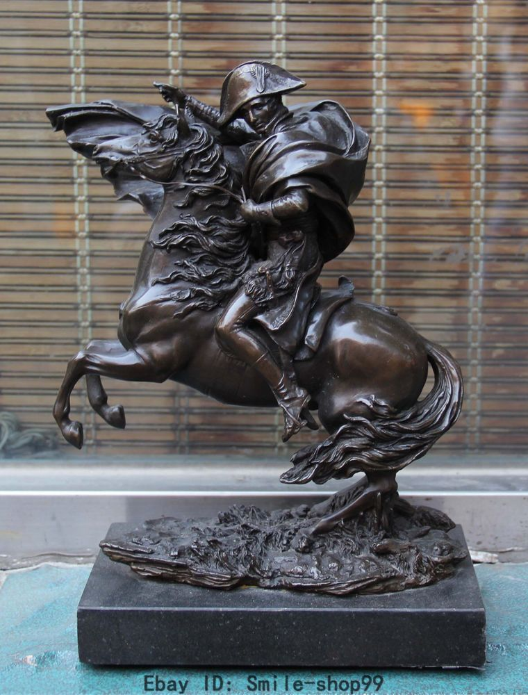 "12"" Chinese Bronze Napoleon Ride Horse warfare battle marble base Art Statue"