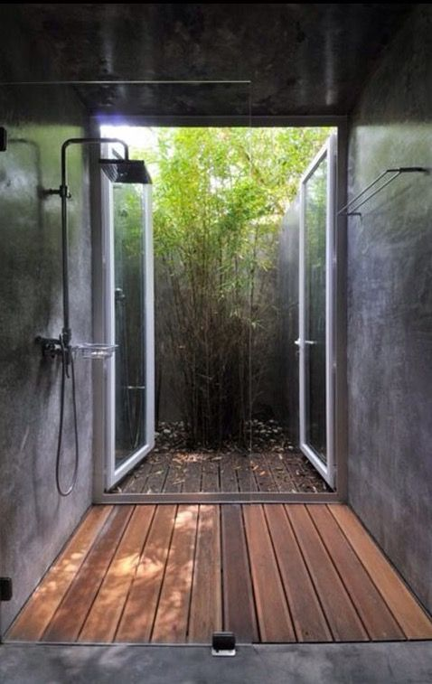 Shower Doors Open To Outside Building A Container Home
