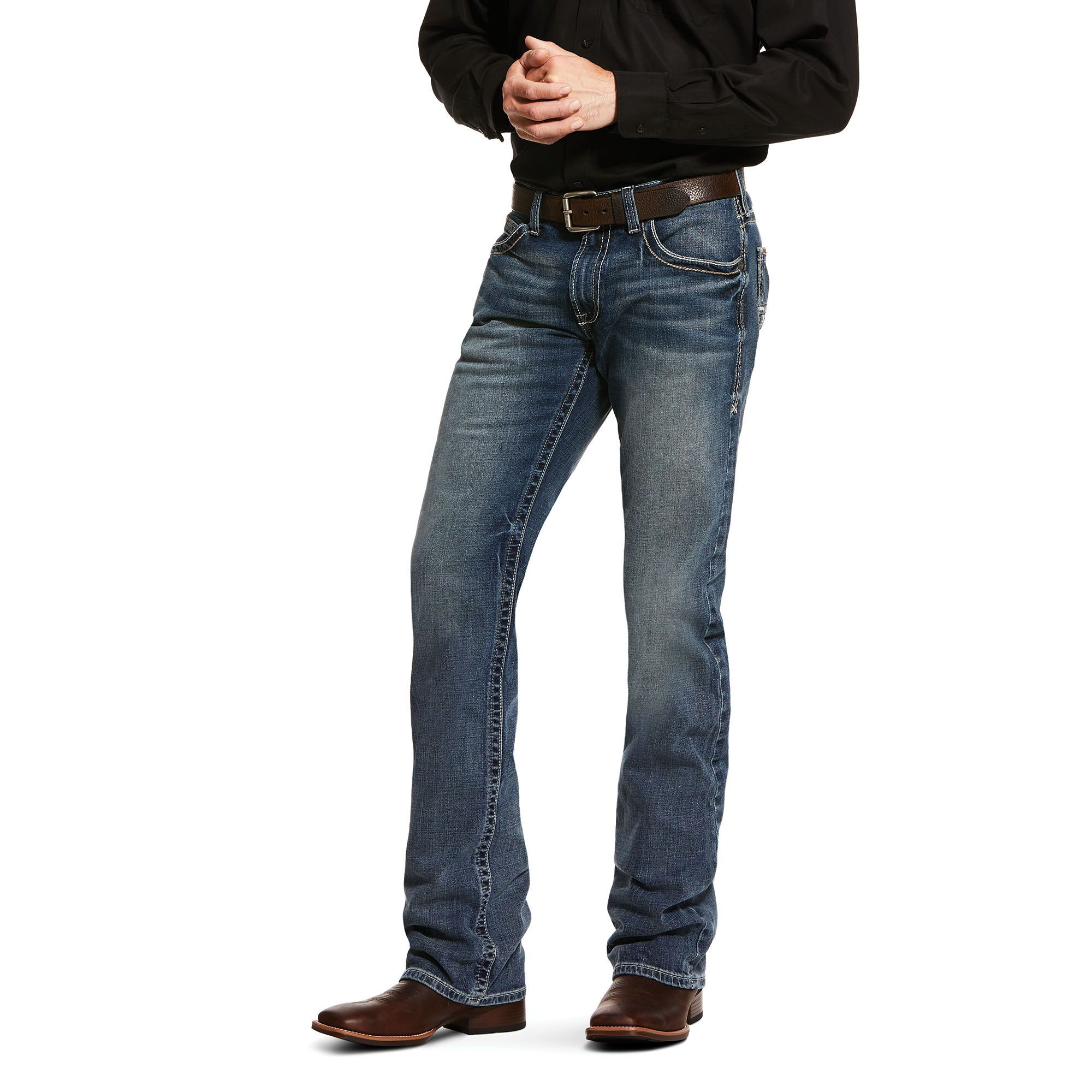 Men's M5 Slim Stretch Adkins Stackable Straight Leg Jeans in Lennox Cotton, 31 X 32 32″ by Ariat – Products