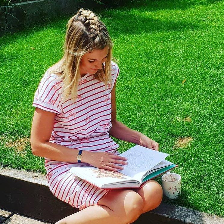 56f916e81e90 Striped Dress · Lovely  lisafaulknercooks soaking up some sunshine while  filming in our Organic Cotton Kate Flamingo Party