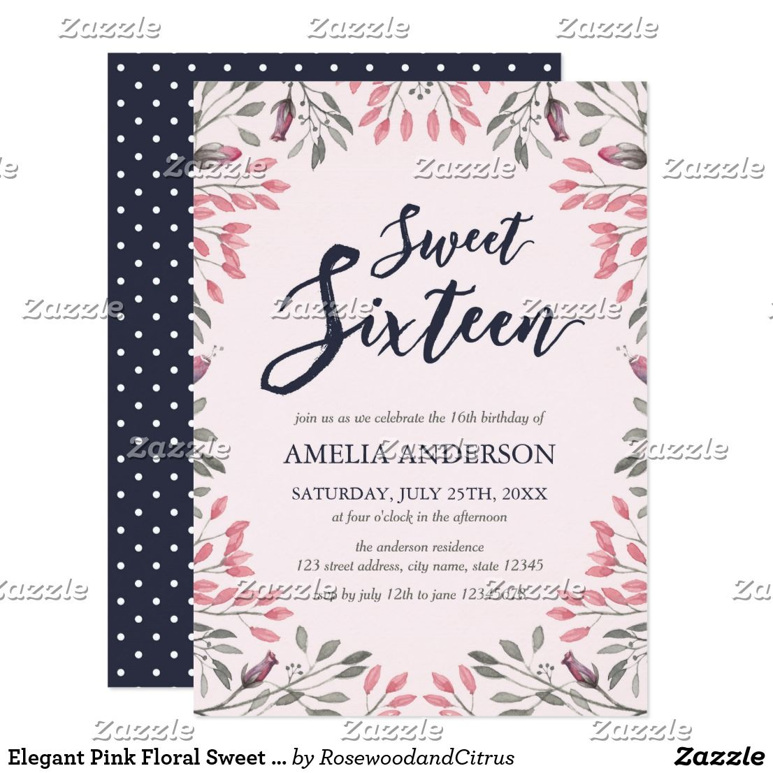 Elegant Pink Floral Sweet 16 Birthday Invitation | Pinterest | Sweet ...
