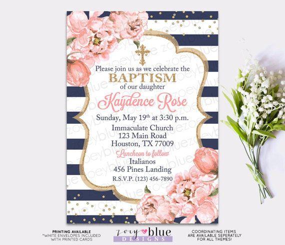 Girl Baptism Invitation - Blush Pink Navy \ Gold Baptism Invite - invitation for baptism girl