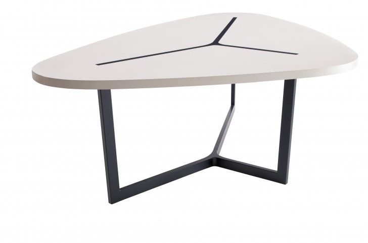 Furniture Black Iron Y Shaped Table Base With Triangular White