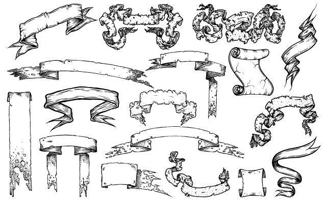 the tattered adobe illustrator scroll banner vector pack drawings