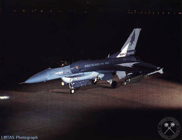 Night Falcon, or the F-16C #85-1446 which is an block 30 made to look like a block 40 as a demonstrator. Note the Lantirn pods on the chin stations. [LMTAS photo]
