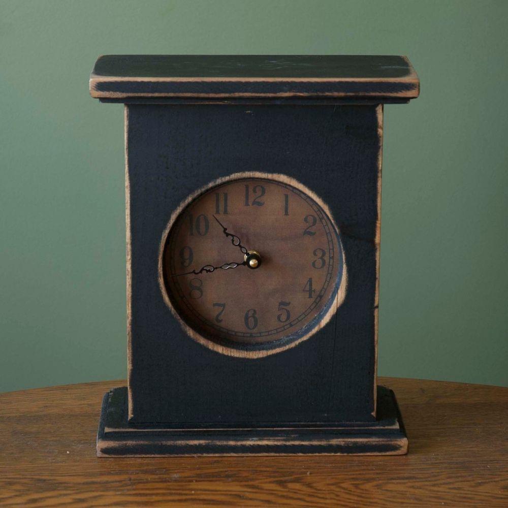 Black Distressed Wood Mantel Clock Primitive Country Primitivecountryrustic Wood Mantels Clock Mantel Clock