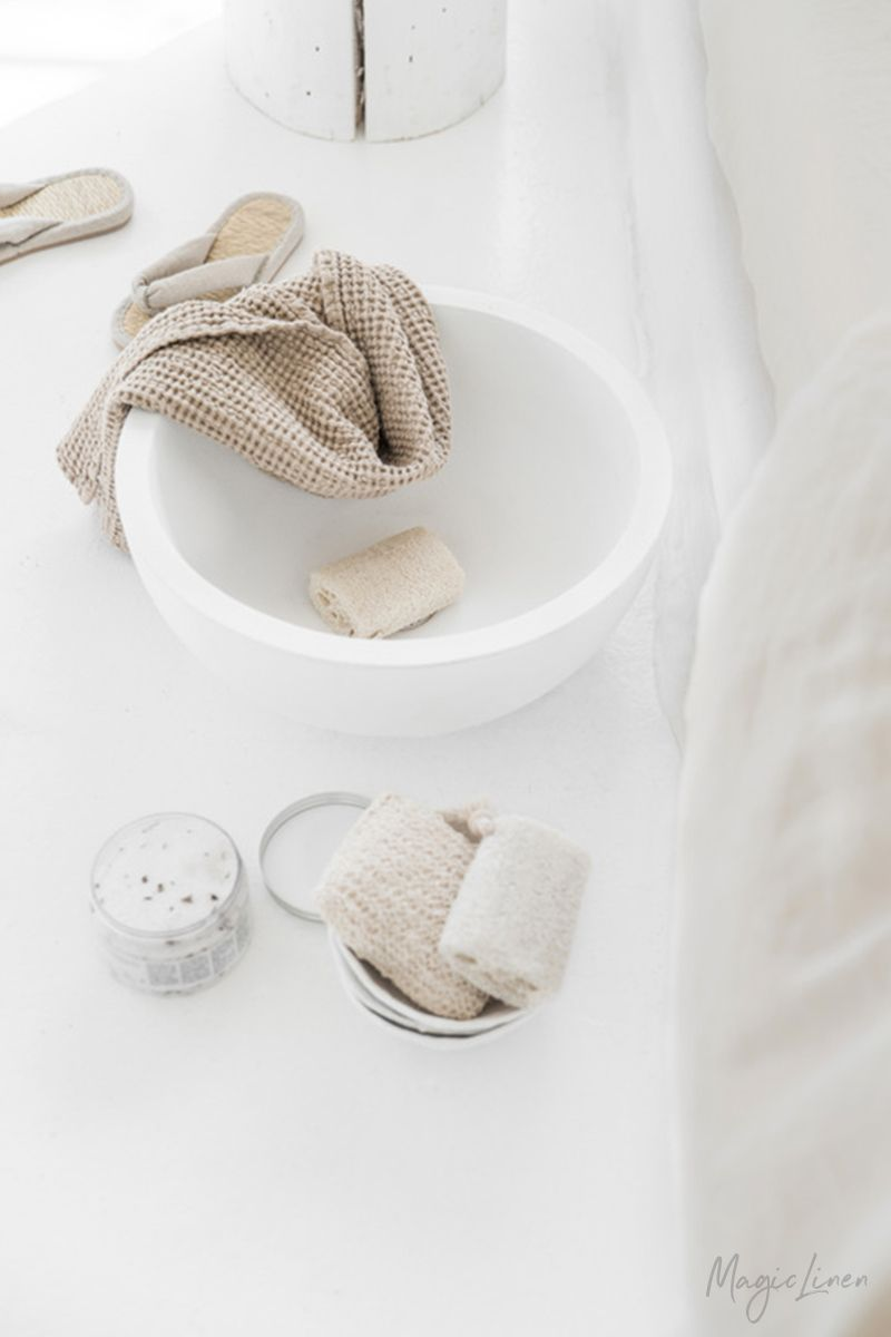 Linen Bath Towel Set Available In 5 Colors The Puffy Waffle Weave