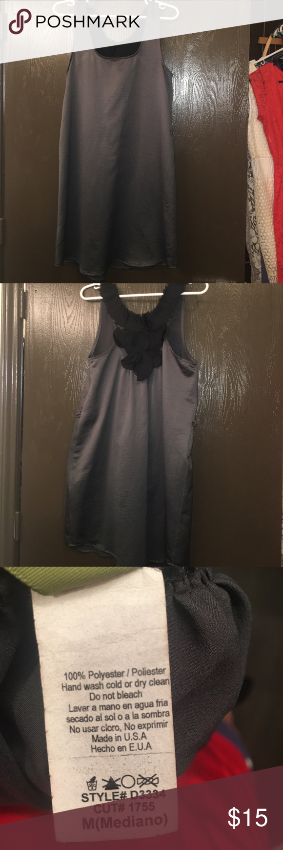 Gray/silver tone dress. Size medium. Cute going out dress! Has slot for a belt but I do not know what happens to it. Has plenty of life and no flaws! Dresses