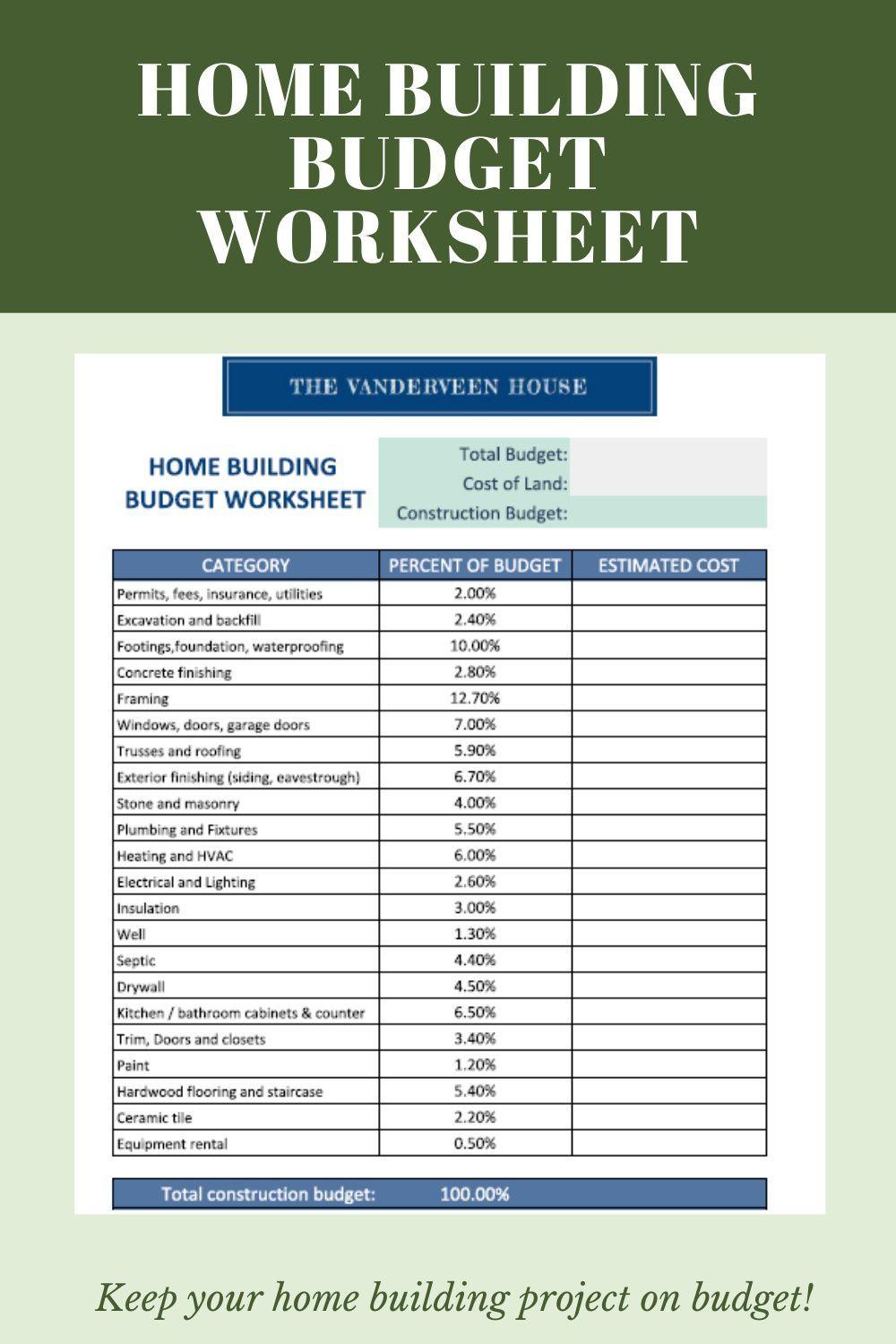 House Construction Schedule And Budget Worksheet Home Construction Budgeting Worksheets Budgeting New home construction budget worksheet