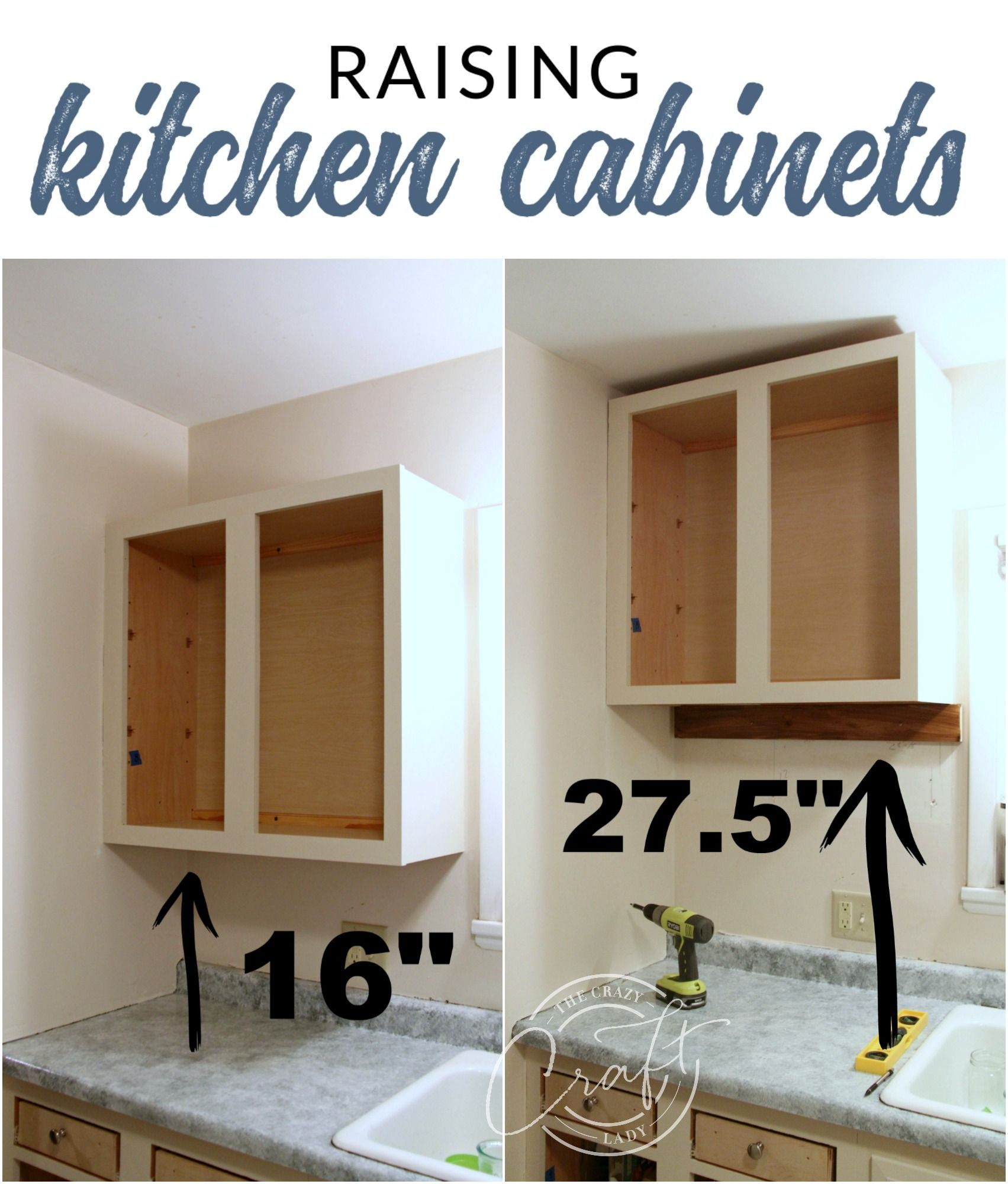 Genius Diy Raising Kitchen Cabinets And Adding An Open Shelf Diy Kitchen Remodel Diy Kitchen Renovation New Kitchen Cabinets