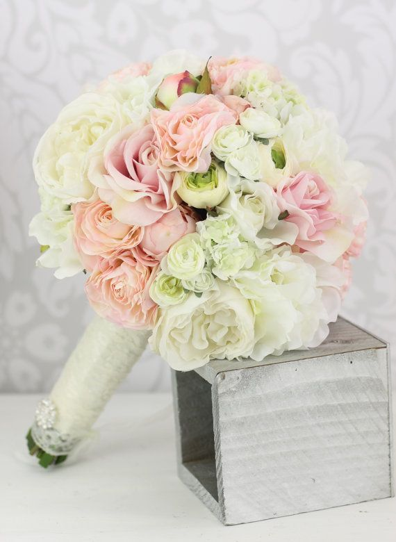 Silk Bride Bouquet Peony Flowers Pink Cream Spring Mix Shabby Chic ...