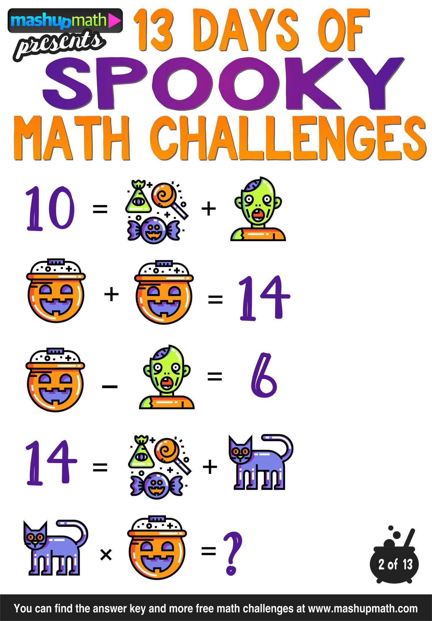 Halloween Math 13 Days Of Spooky Math Challenges For Grades 1 8 Mashup Math Math Challenge Halloween Math Halloween Math Worksheets [ 2156 x 1500 Pixel ]