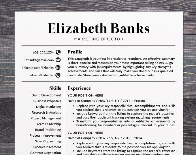 Business Resumes Template Resume Template  Cv Template For Word Mac Or Pc Professional
