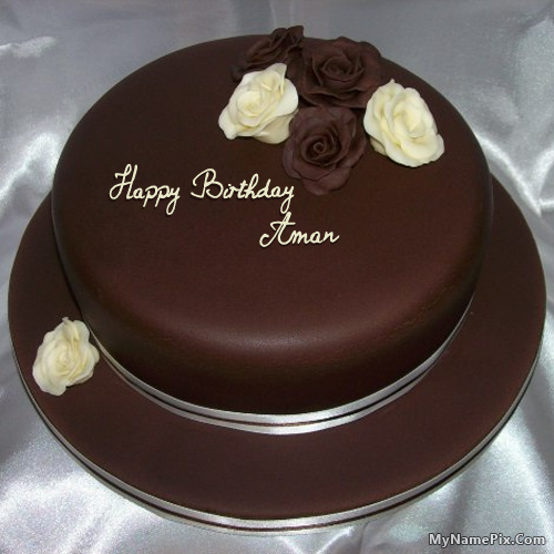The Name Aman Is Generated On Rose Chocolate Birthday Cake With