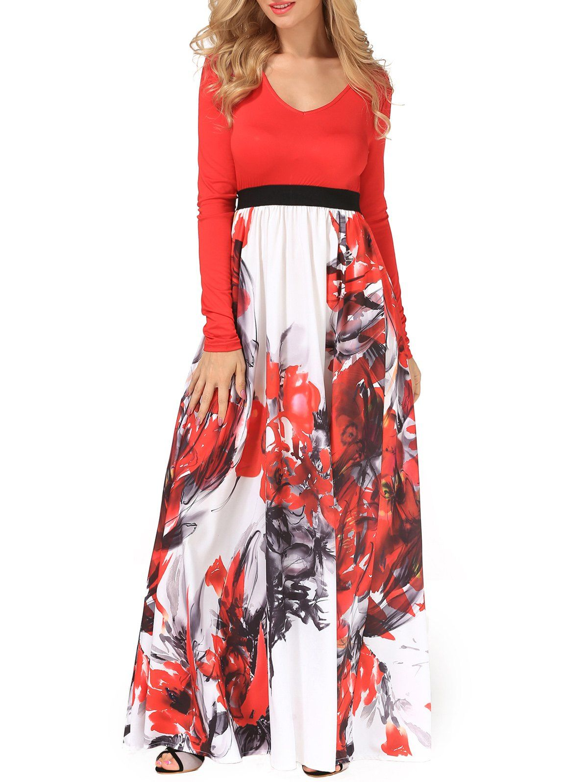 Flower painting v neck maxi dress flowing dresses maxi dresses