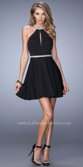 Iridescent Jeweled Collar Homecoming Dresses By La Femme