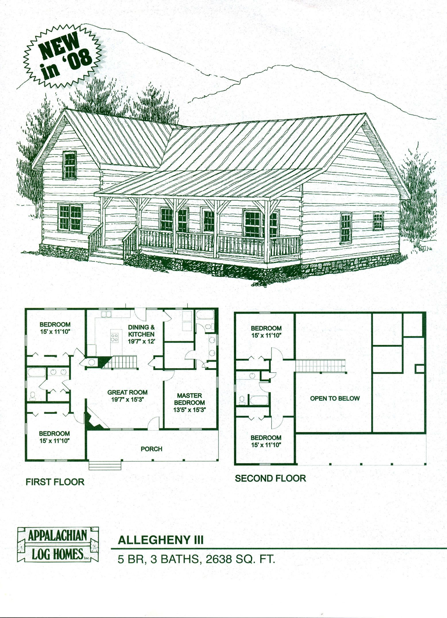 Log home floor plans log cabin kits appalachian log for 5 bedroom log home floor plans