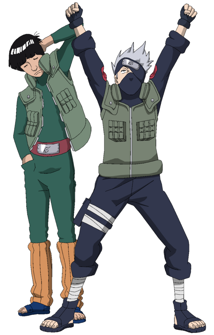 Kakashi and Guy Road to Ninja Lineart colored by